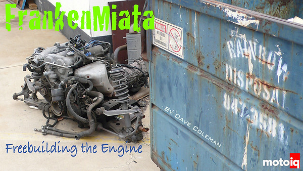 Frankenmiata Mazda B6 Miata engine by the dumpster